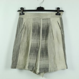 Real Vintage High-Waist-Shorts grey brown-oatmeal linen