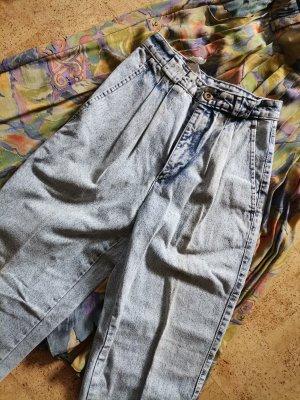 Vintage Jeansy z wysokim stanem biały-błękitny