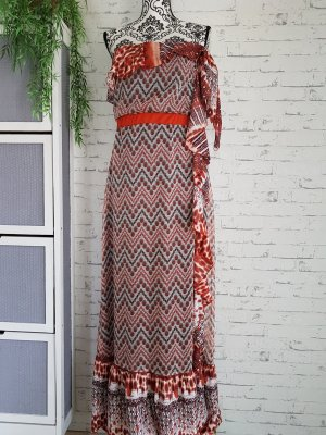 Vintage Hippi Volant Kleid maxi Gr 38/40 beige - rost