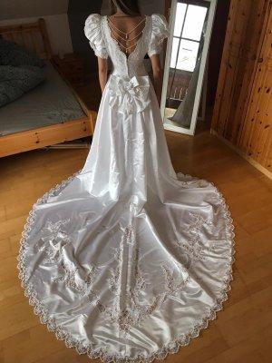 Vintage Hochzeitskleid / Brautkleid mit Perlenstickerei und Schleife