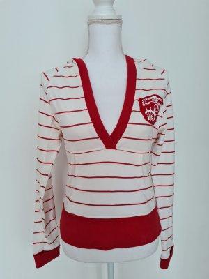 Vintage Hoodie Pullover mit Kapuze in rot weiß gestreift Gr. XS