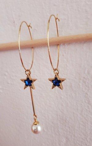 Vintage Hoop Creolen Asymmetrische Ohrringe mit Perle und Stern in Goldene Farbe