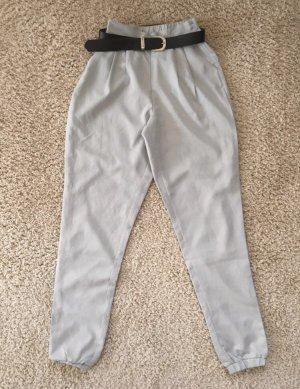 Pantalon taille haute gris clair-argenté
