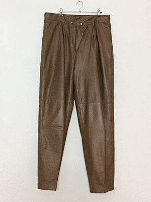 Vintage Hose echt Leder Größe 46 braun Camel Lederhose High Waist Eighties 80er