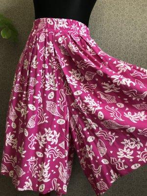 True Vintage Spódnico-spodnie różowy neonowy-biały Wiskoza