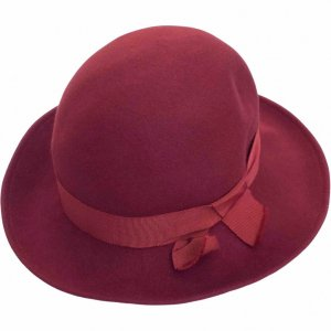 Vintage Woolen Hat dark red-red