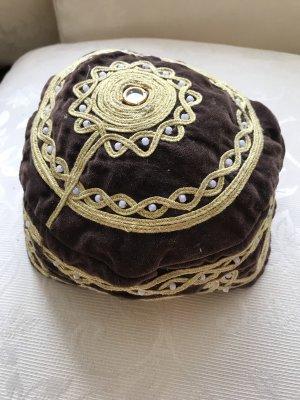 Vintage Casquette gavroche brun-doré