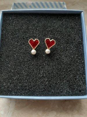 Boucles d'oreilles en perles rouge carmin