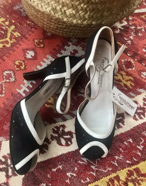 Escarpins à bout ouvert blanc-noir cuir