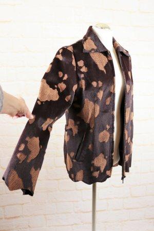 Vintage Futrzana kurtka ciemnobrązowy-cognac
