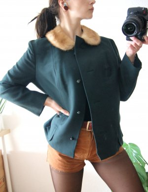 Vintage Jacke waldgrün, leichte jagdgrüne Jacke mit Echtpelzkragen, 20er preppy blogger