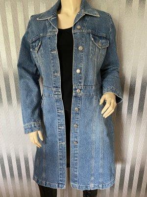 Orsay Between-Seasons-Coat steel blue cotton
