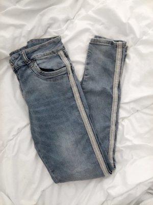 Vintage Jeans Skinny mit seitlichen Streifen Blau Größe M