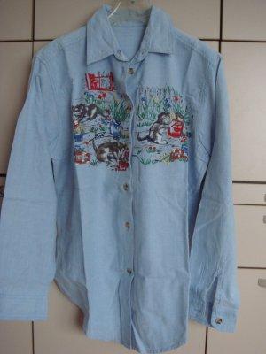 Vintage Blouse en jean multicolore coton