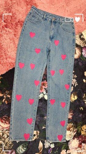 Vintage Jeanshose Pink Herz