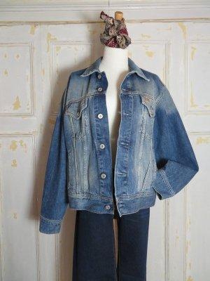 Vintage oversize Jeansjacke Truckerjacket blau usedlook Cotton