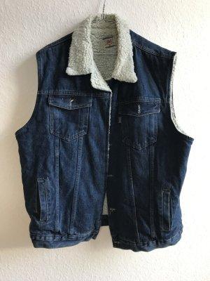 Vintage Jeansweste mit Fellfutter in Oversize
