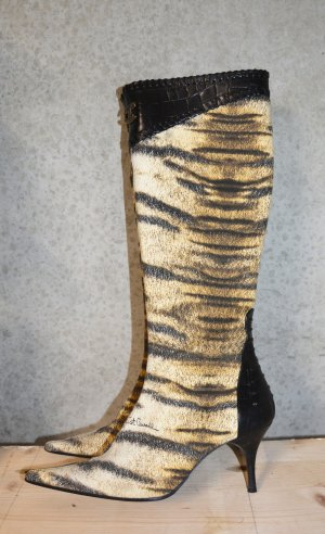 Vintage Just Cavalli Stiefel Spitz Animal Tiger Print Lederstiefel 38