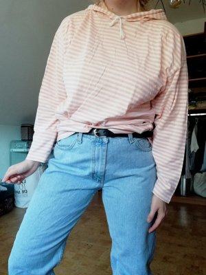 Vintage Camicia con cappuccio bianco-rosa pallido