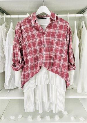 Vintage Camisa de leñador blanco-rojo frambuesa