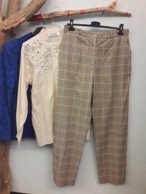 Pantalone a pieghe beige-nero
