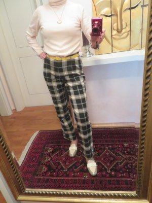Vintage Karohose - Schwarz Off White Hellbraun Karierte Stoff Hose - Gr. M - mid waist gerades Bein
