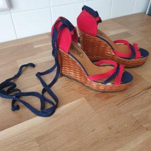 Calzados Blay Sandalo alto con plateau rosso-blu