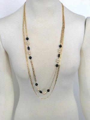 Vintage Kette gold Perlen schwarz Statement Blogger Hochzeit Party Abendkleid