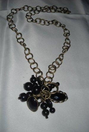 Vintage Kette lang Gliederkette altgold schwarz Anhänger Ring Stein Perlen Boho