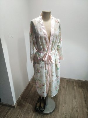 Vintage Kimono Morgenmantel rose nude Blüten Mesh  Lace Gr. S-L