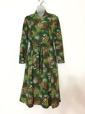 Vintage Kleid 1960er Sixties Gr. 42 grün Hauskleid mit Gürtel 1970er Seventies