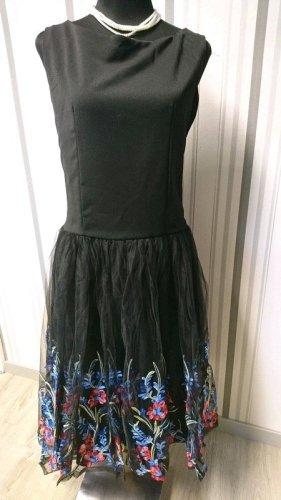 Belsira Sukienka z halką czarny Tkanina z mieszanych włókien