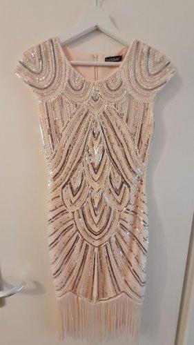 Pretty Guide Cekinowa sukienka złoto-kremowy