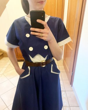 vintage Kleid blau/ weiß Made in Westgermany