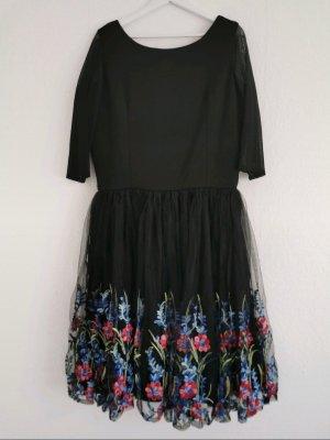 Vintage Kleid dreiviertel Ärmeln Netzstoff Tüll Vintagekleid Blumen Mesh Retro