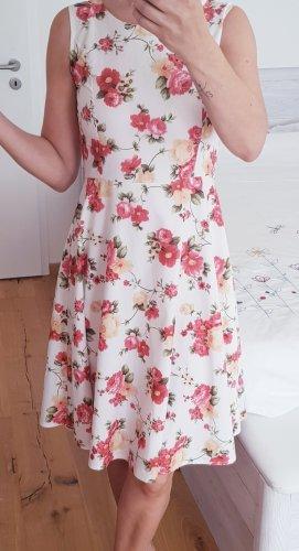 Vintage Vestido con enagua blanco-rojo frambuesa