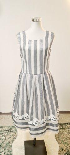 Vintage Sukienka z rękawem balonowym srebrny-biały