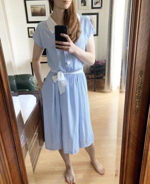 vintage Kleid in blau weiß mit Gürtel