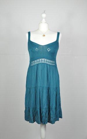 Vintage Kleid in Petrol mit gehäkelten Oberteil