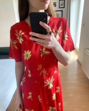 vintage Kleid in rot mit gelben Blumen zum binden