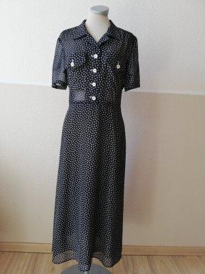 Vintage Kleid Joop dunkelblau schwarz weiß Kurzarmkleid Midikleid