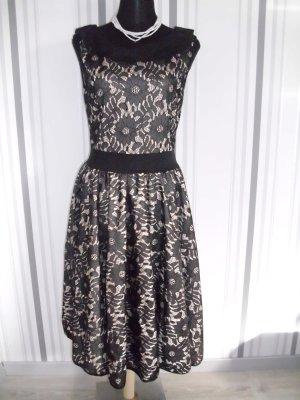 Belsira Suknia wieczorowa czarny-beżowy Tkanina z mieszanych włókien