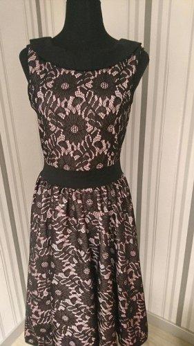 Belsira Sukienka o kroju litery A czarny-różowy Tkanina z mieszanych włókien