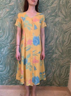 vintage Kleid Sommerkleid gelb/ Türkis