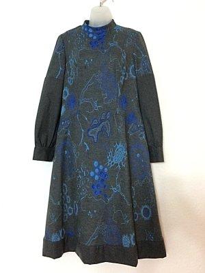 Vintage Kleid Trevira 1960er Sixties Gr. 42 grau und blau Hauskleid 1970er Seventies Wolle