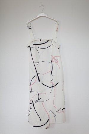 Vintage Kleid weiß schwarz Rosé Blogger Look Gr. L mit Etikett Midikleid