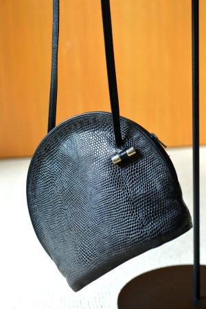 Vintage Sac seau noir-argenté cuir