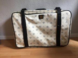 Valise blanc-bleu foncé faux cuir