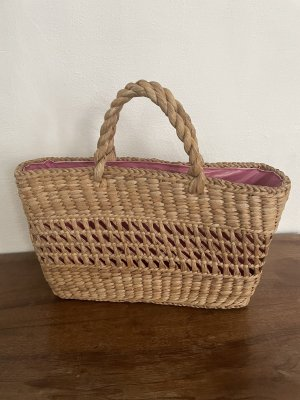 Bolso tipo cesta marrón claro-rosa
