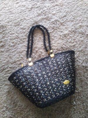 Vintage Korbtasche schwarz gold glitzer